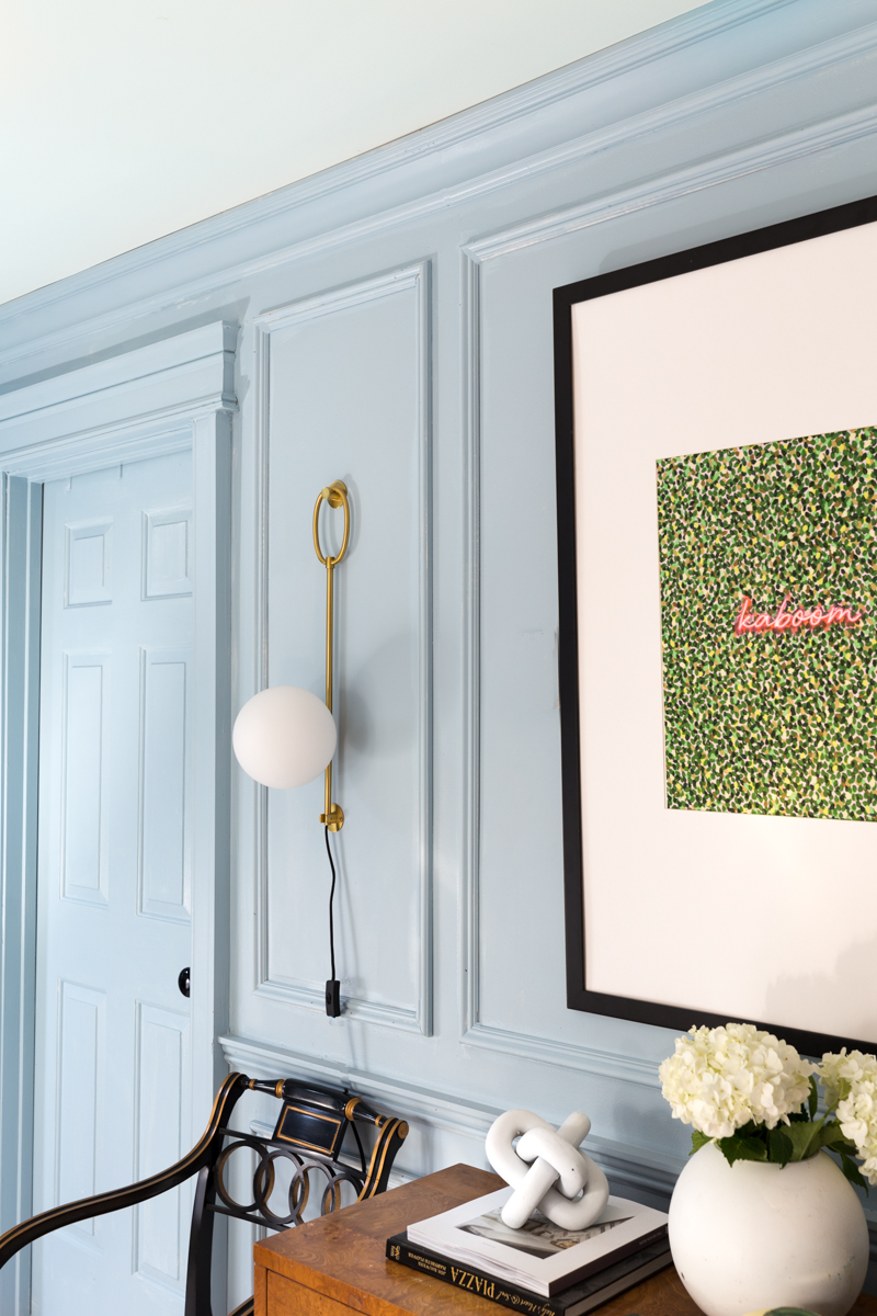 Jeweled Interiors, fall 2019 ORC, art, grand empire chair, burl dresser, gina sconce, Mitzi, blue walls