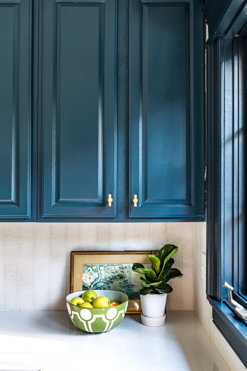 Jeweled interiors Fall 2019 ORC kitchen, schuab t pulls hague blue cabinets,, Enhance cabinet