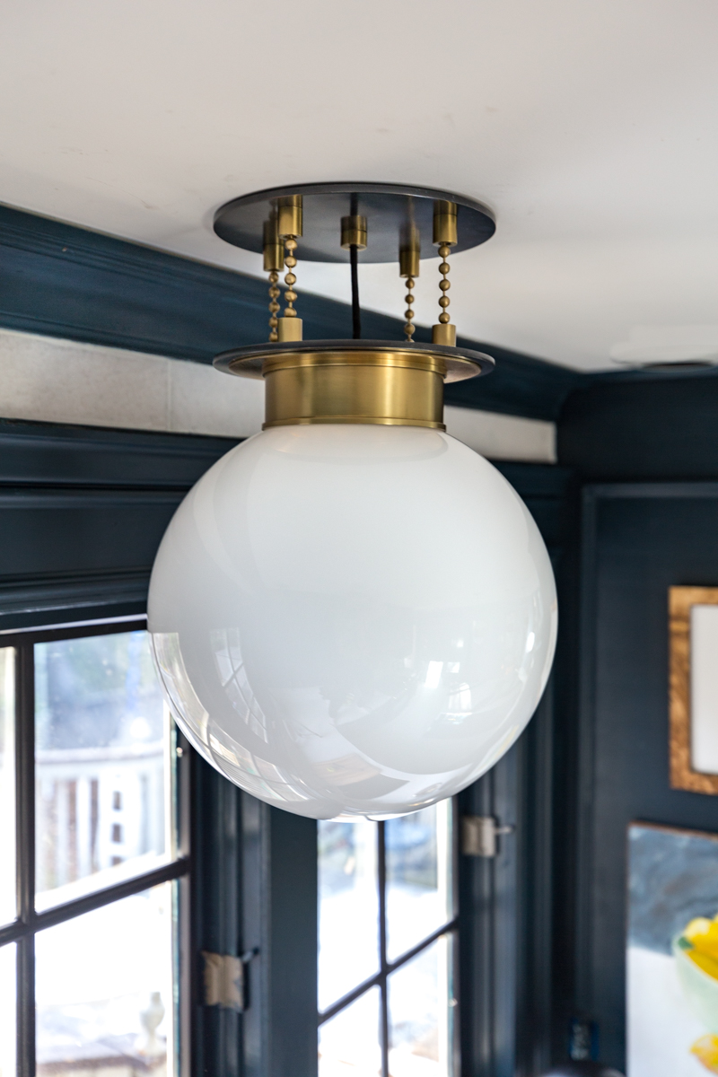 Wowzers! Check out this reveal from Jeweled Interiors Fall 2019 ORC, one room challenge. Gunther sconce, Corbett Lighting, hague blue cabinet, kitchen