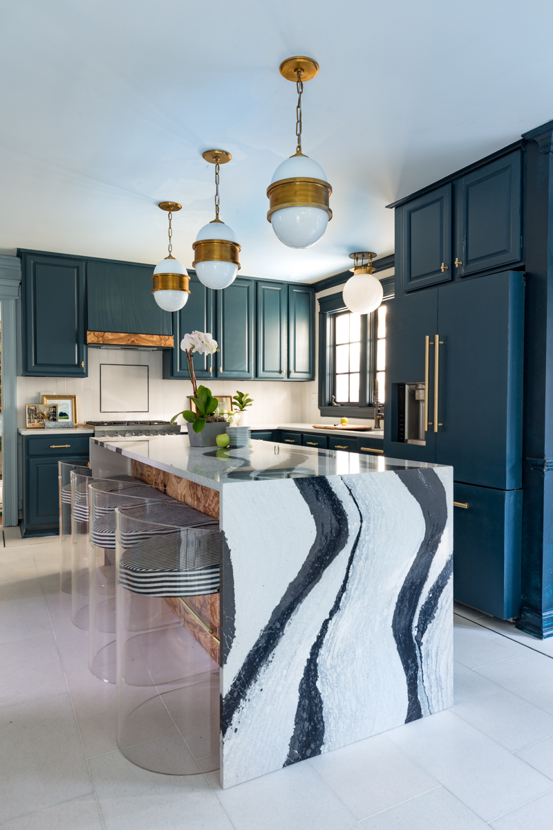 Jeweled Interiors kitchen, fall 2019 One Room Challenge, Cambria island, tile shop floors, Hague blue cabinets, burl island, lucite stools
