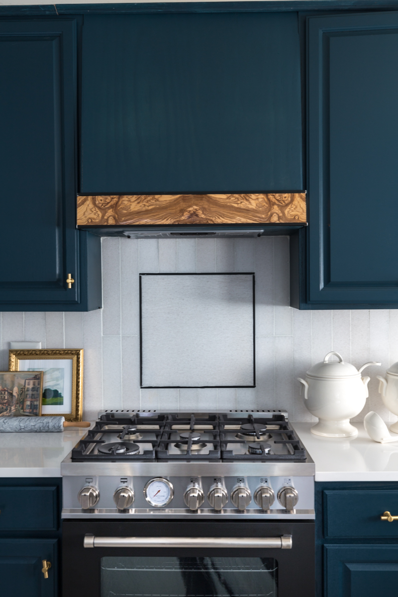 Jeweled Interiors kitchen, fall 2019 One Room Challenge, burl hood vent, tile shop floors, Hague blue cabinets, cambria countertops