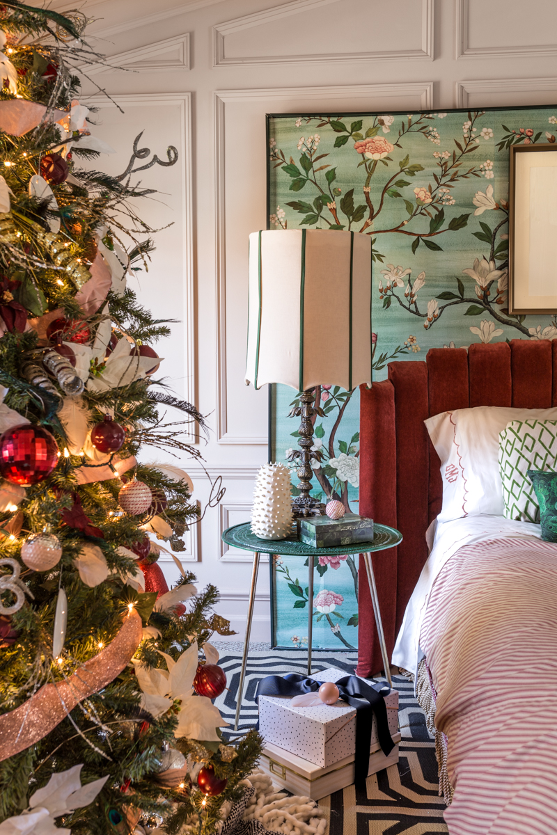 You've got to see these master bedroom Christmas tree ideas. Jeweled Interiors, Jewel Marlowe, One room challenge, Christmas, blue Christmas tree, ostrich feathers, Christmas tree ideas