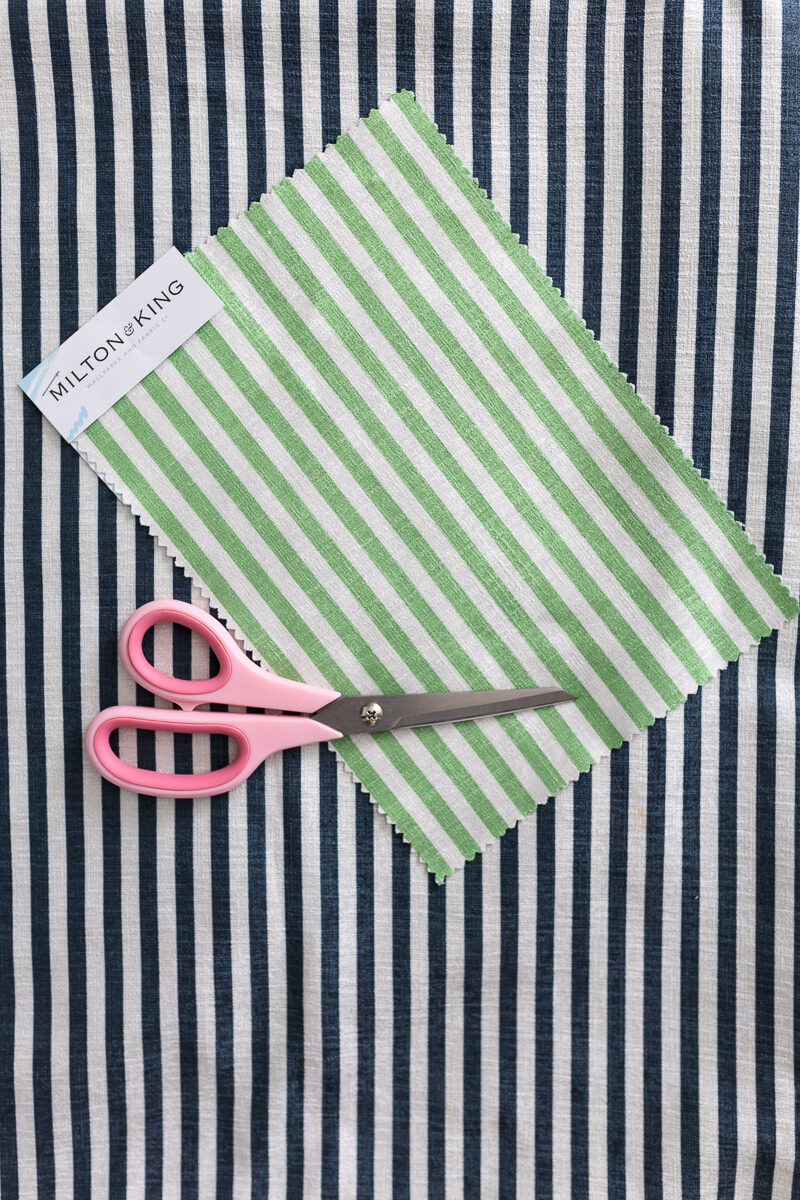 milton and king candy striped fabric, black and white striped velvet, green and white striped fabric