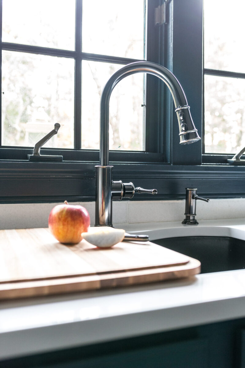 Check out this gorgeous blue kitchen with elkay kitchen sink and faucet