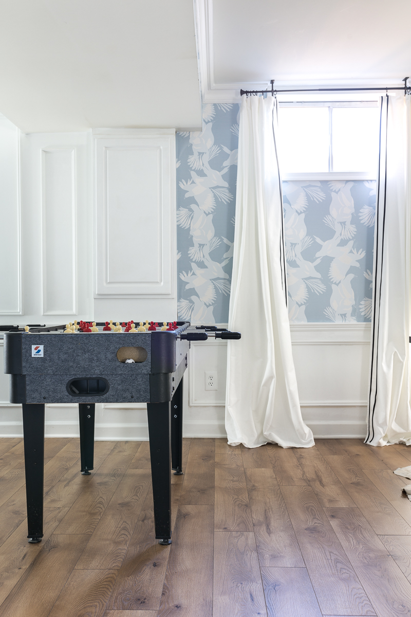 You've got to see this basement makeover, select surfaces heritage oak, game table, basement ideas, basement renovation