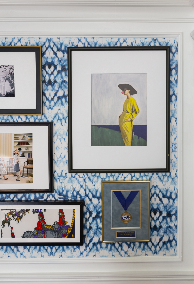 gallery wall ideas, jeweled interiors, entomology wallpaper, how to keep your art straight.