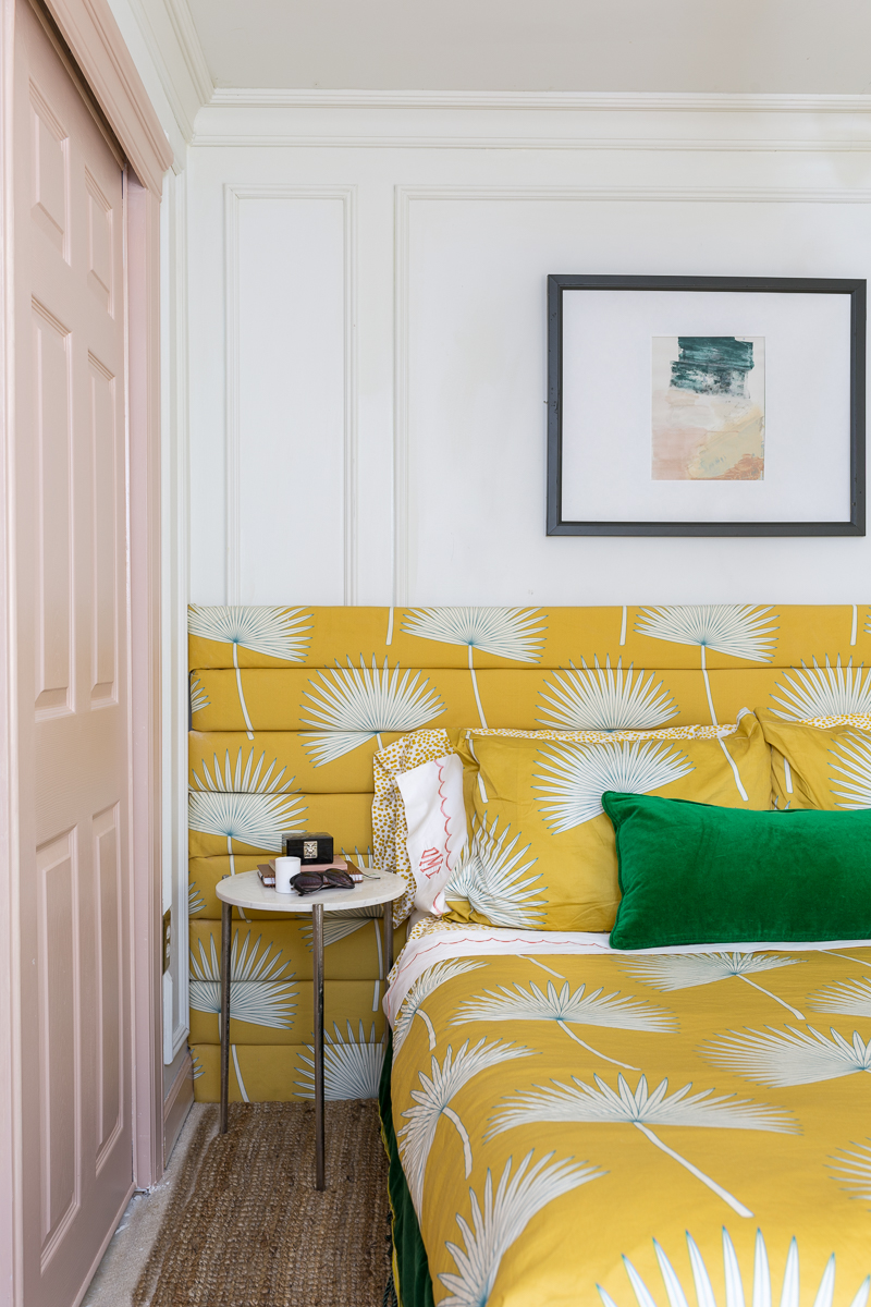 teen girl bedroom, teen bedroom, girl bedroom, yellow bed, tufted headboard, channel tufted, unique headboard