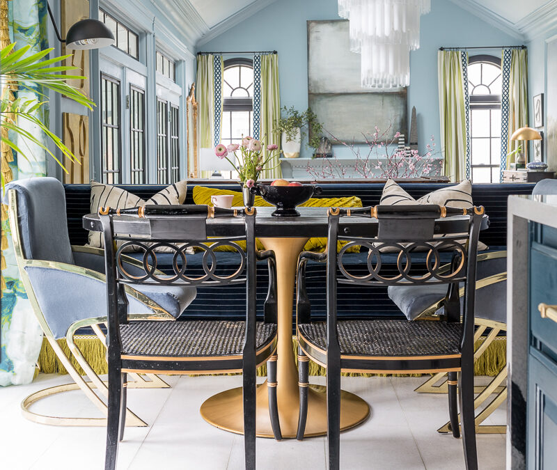 You have to see the Jewel Marlowe Home Tour, jeweled interiors, spring 2020, eat in, banquette