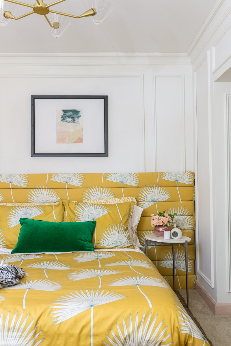 You have to see the Jewel Marlowe home tour! Jeweled Interiors DIY bed, spoon flower, channel headboard, summer 2020, colorful home, yellow bed