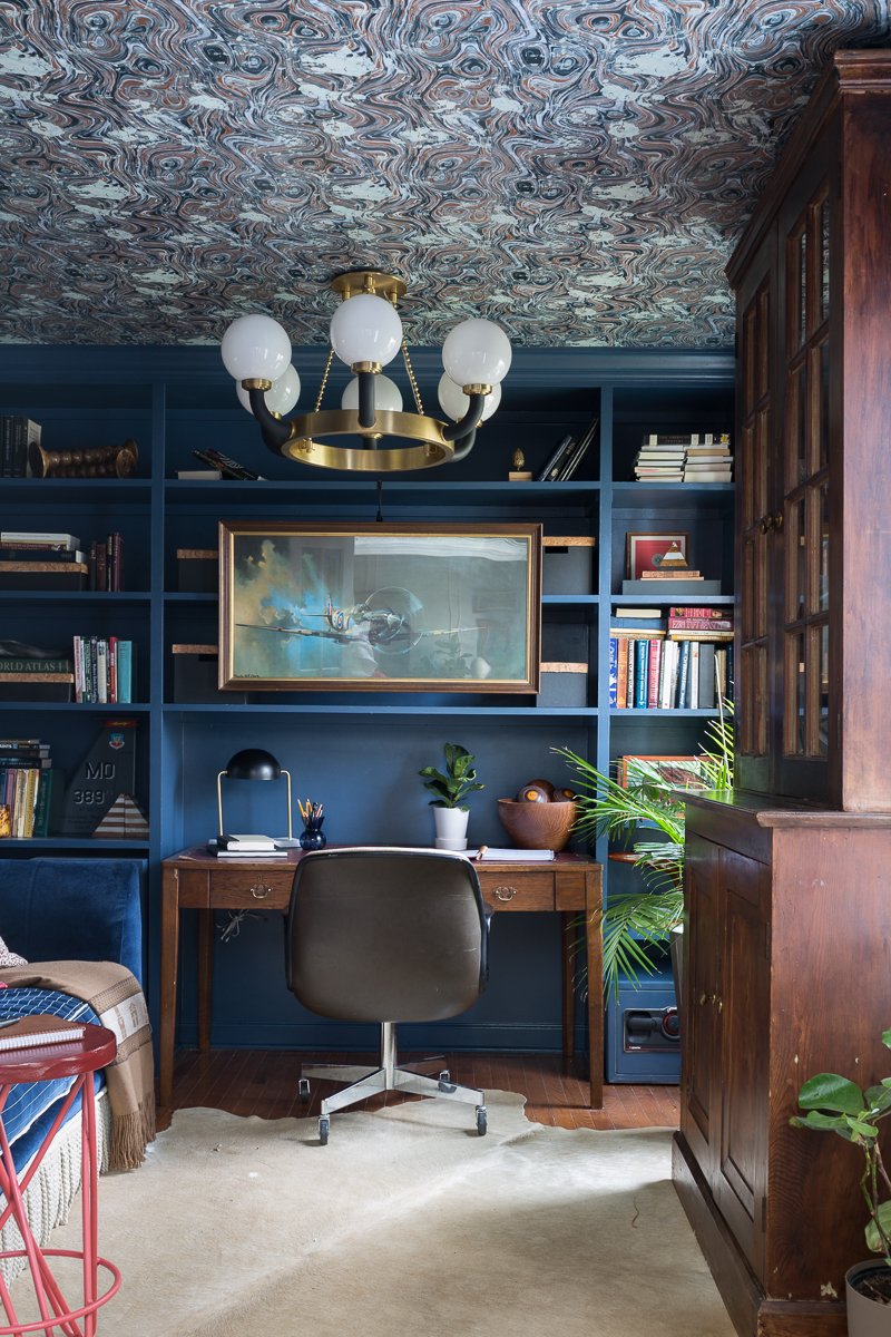 You have to see the Jewel Marlowe home tour! Stiffkey blue, office, spoonflower wallpaper, wallpapered ceiling