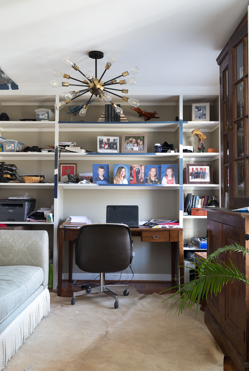 AWESOME OFFICE REVEAL! Navy blue office, wallpapered ceilings, Stiffkey blue, farrow and ball, Spoonflower wallpaper, HVLG, Werner chandelier, fringed sofa