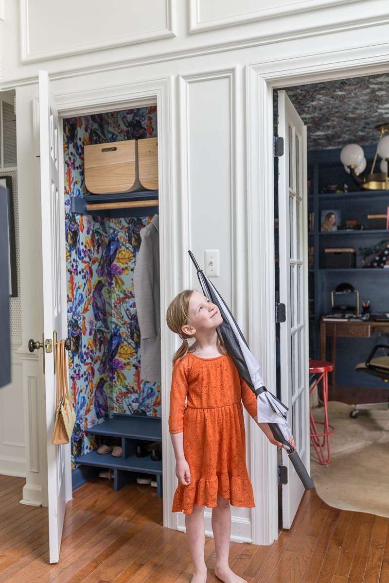 CHECK OUT this hall closet makeover, Ravenswood wallpaper, smith and Honig, closet refresh, built in shoe cubby, removable wallpaper, wallpapered closet