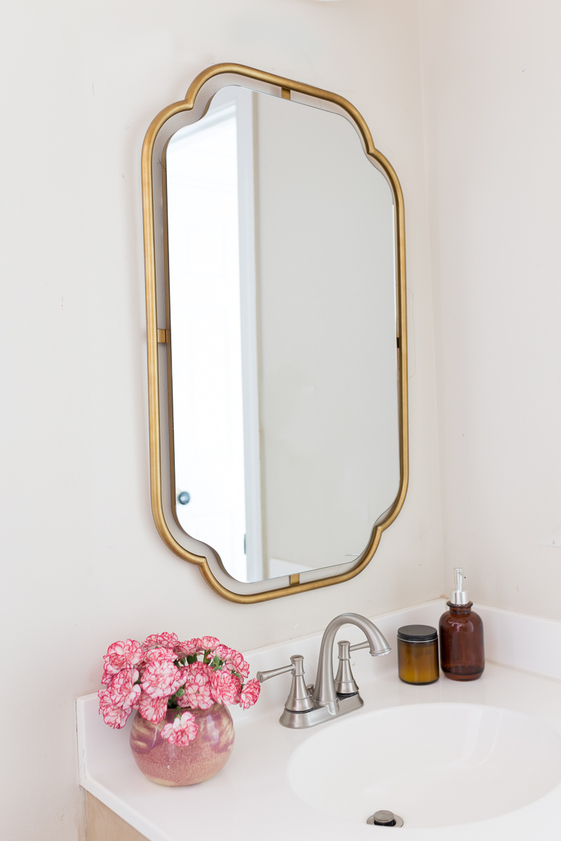 Perla mirror, Anthropologie mirror, How to reface a bathroom vanity,  DIY Bathroom vanity, Bathroom DIY, diy bathroom remodel on a budget, Anthropologie inspired bathroom, DIY Anthropologie, Anthropologie bathroom, Anthropologie mirror, Mia Rattan handles