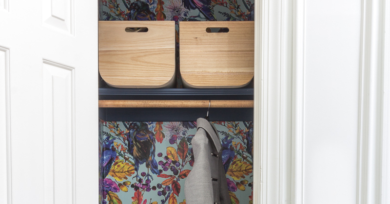 Hall Closet Makeover with Ravenswood wallpaper