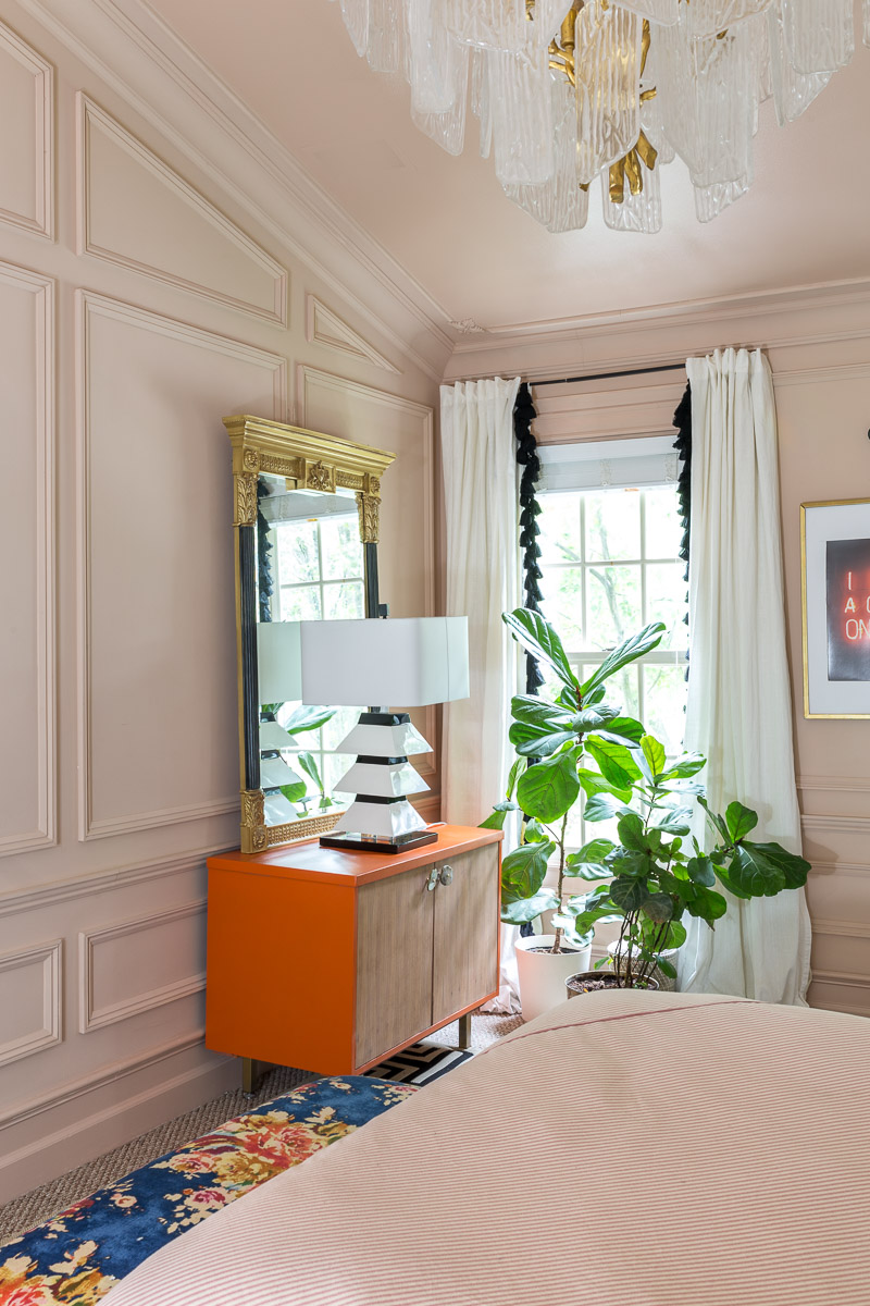 You have to see the Jewel Marlowe home tour! Jeweled Interiors DIY bed, Setting Plaster, Metrie Moulding, Anthropologie mural, burl wardrobe