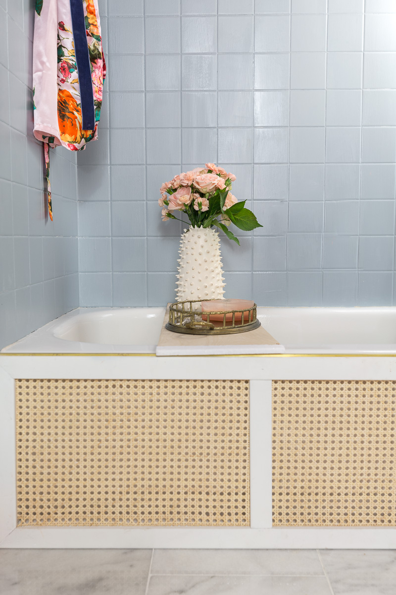 wicker tug front, vintage bathroom, spring 2020 ORC, one room challenge, jeweled interiors, Jewel Marlowe, , Anthropologie bathroom, Anthropologie, Anthropologie inspired bathroom,