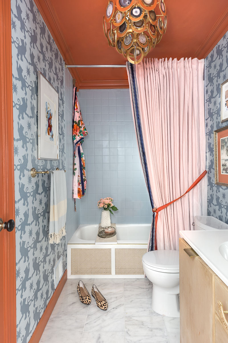 vintage bathroom, spring 2020 ORC, one room challenge, jeweled interiors, Jewel Marlowe, charlotte's locks, Hygge and west, farrow and ball, rockstar chandelier, chinoiserie wallpaper, Anthropologie bathroom, Anthropologie, Anthropologie inspired bathroom,