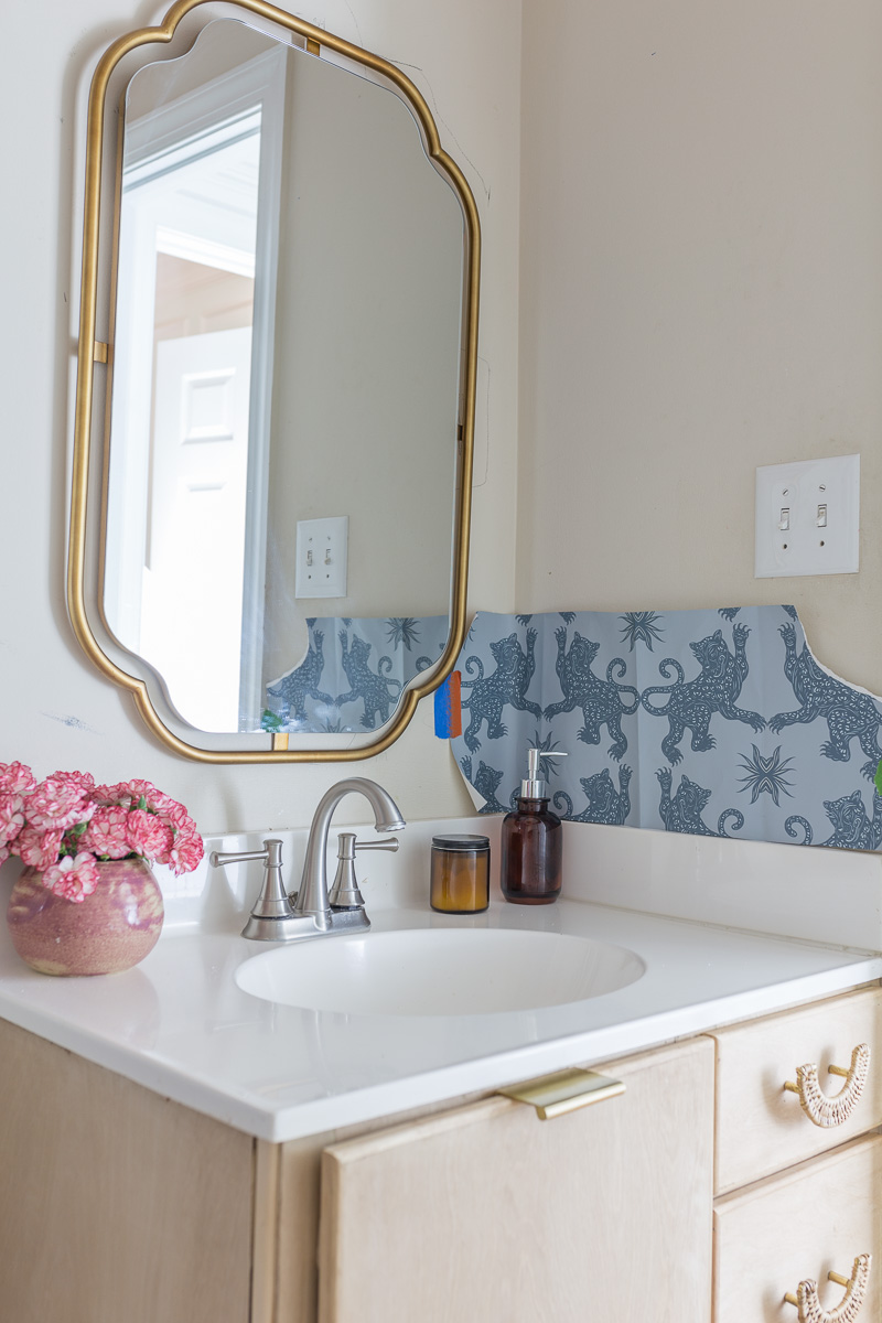 chinoiserie wallpaper, patch NYC, Hygge and west, palace, mist, indigo, bathroom wallpaper, closet wallpaper