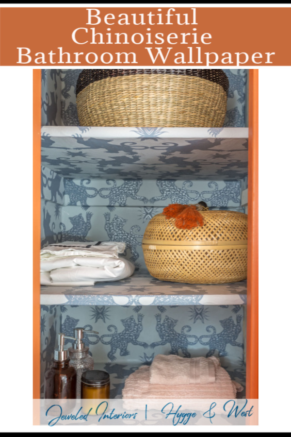 chinoiserie wallpaper, patch NYC, Hygge and west, palace, mist, indigo, bathroom wallpaper, closet wallpaper, chinoiserie closet