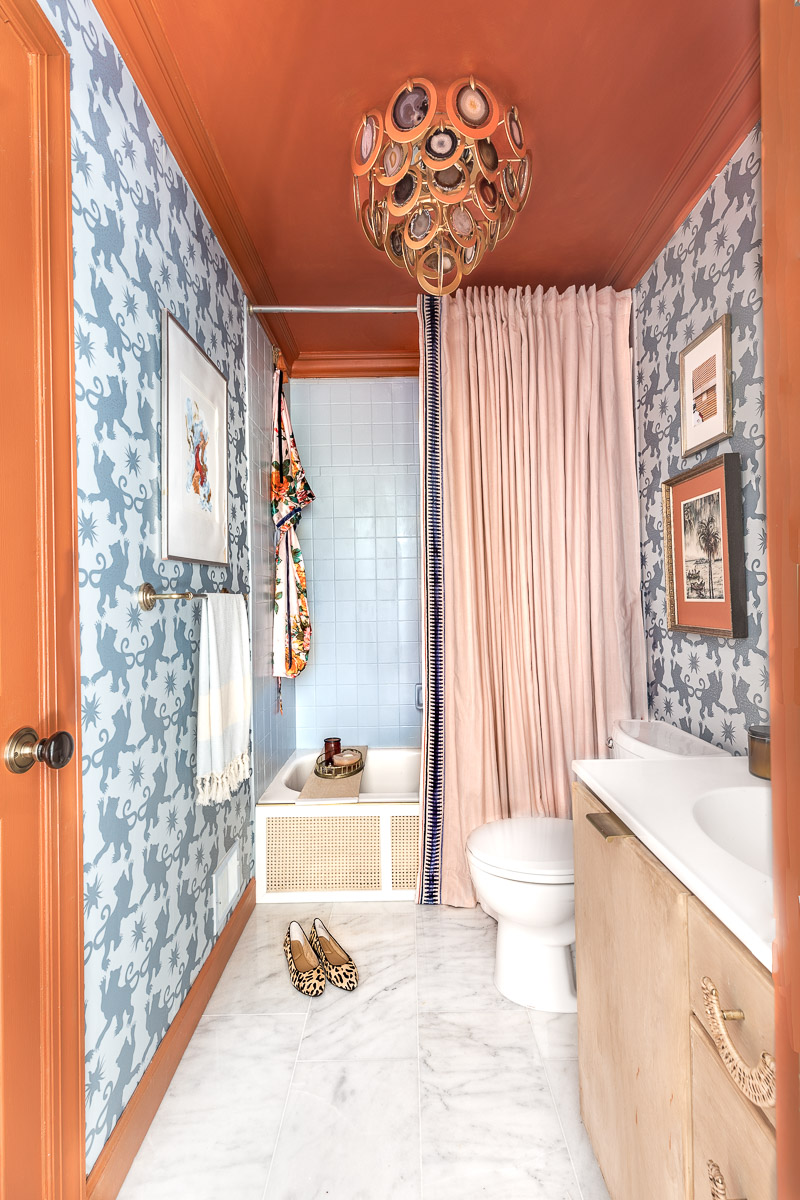 maximalist bathroom, charlotte's locks, orange bathroom, hygge and west, orange and blue room, . New Year New Room Challenge, leopard chair, diy art, panel moulding, traditional red rug, how to make your home look expensive, how to add value to your home, budget, home decor, ideas