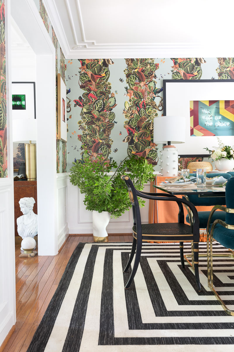 colorful home, Jewel Marlowe Home Tour, summer 2020, jeweled interiors portfolio, dining room, jungle wallpaper, black and white striped rug