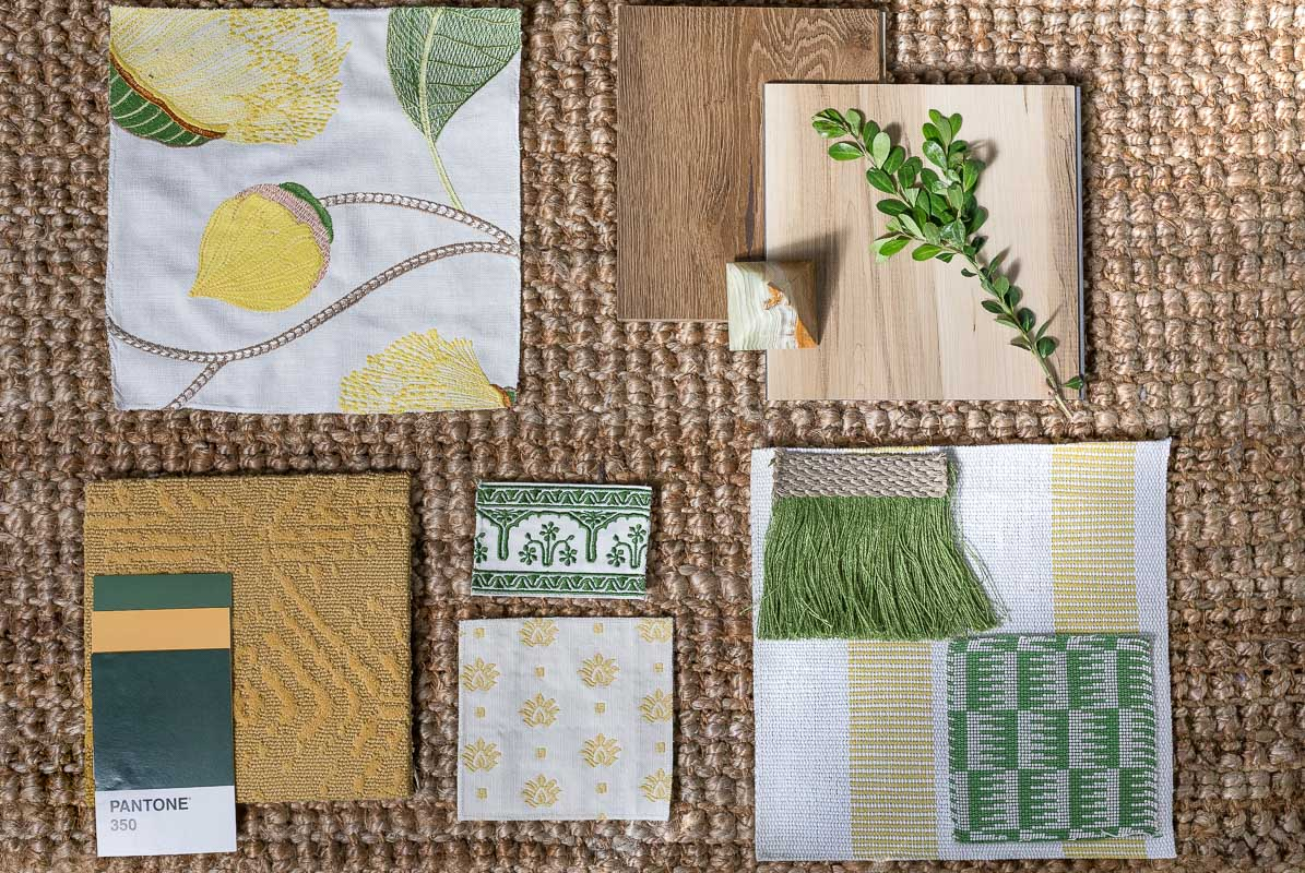 canopy bed mood board, flat lay, yellow carpet, embroidery fabric, canopy bed, twenty for 2020