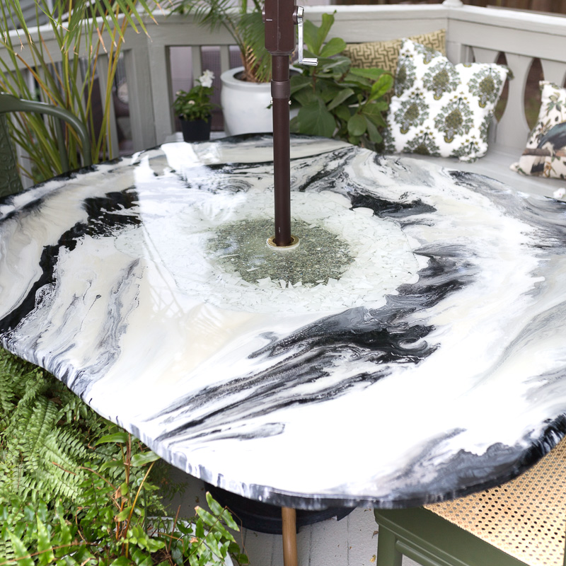 FREAKING AWESOME AGATE TABLE | broche chandelier, art deco chandelier, leaf chandelier, aged brass chandler, how to make an epoxy table, deck makeover ideas, outdoor table ideas.