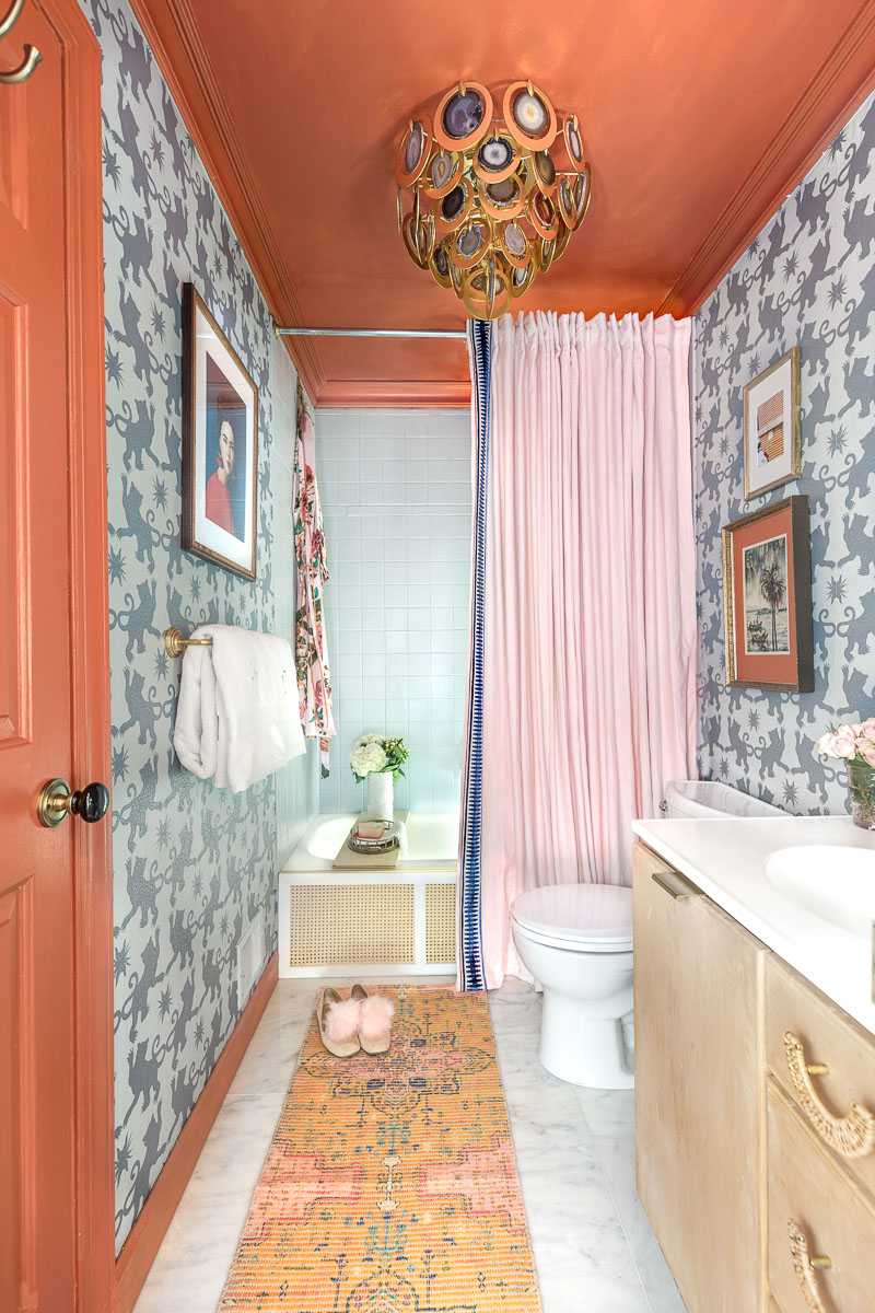 Bathroom updates, spring 2020 ORC, one room challenge, jeweled interiors, Jewel Marlowe, charlotte's locks, Hygge and west, farrow and ball, rockstar chandelier, chinoiserie wallpaper, Anthropologie bathroom, Anthropologie, Anthropologie inspired bathroom,