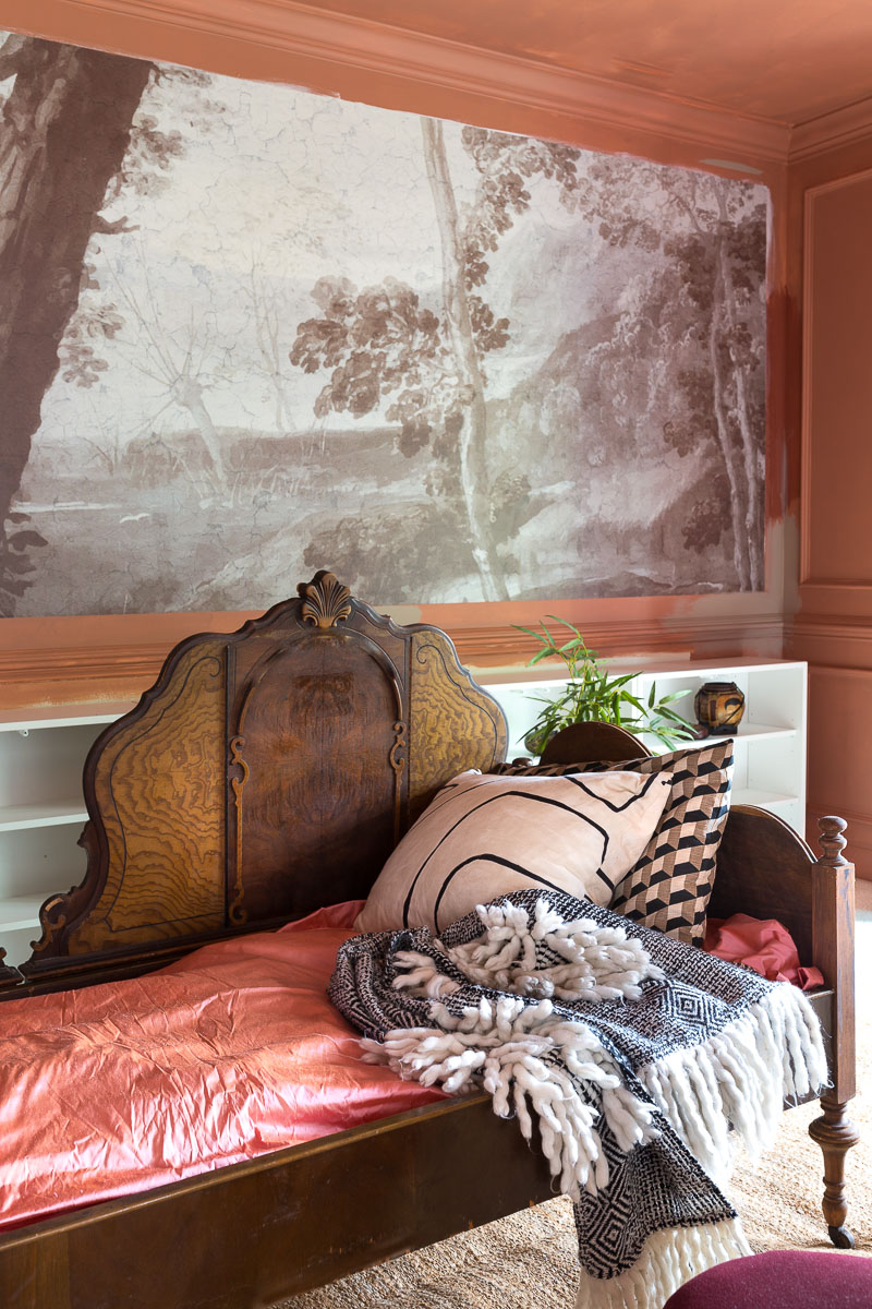 farrow and ball, red earth, primer, imaginarium, victorian bed, wall mural, mural, fine and dandy co, terra cotta, jeweled interiors, one room challenge, 2020