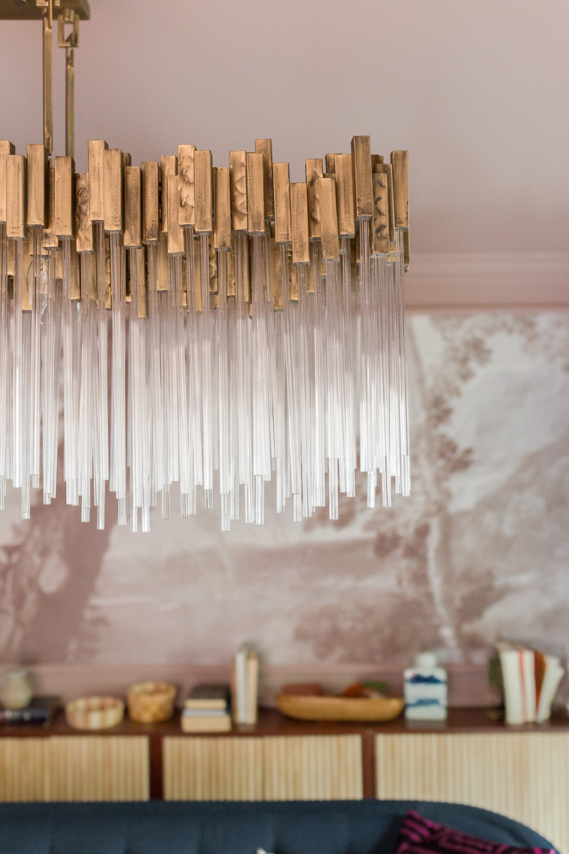 glamorous chandelier, high gloss ceilings, modern chandelier, Varaluz, matrix, crystal chandelier, modern crystal chandelier, sulking room pink, farrow and ball, fringed sofa fall 2020, one room challenge