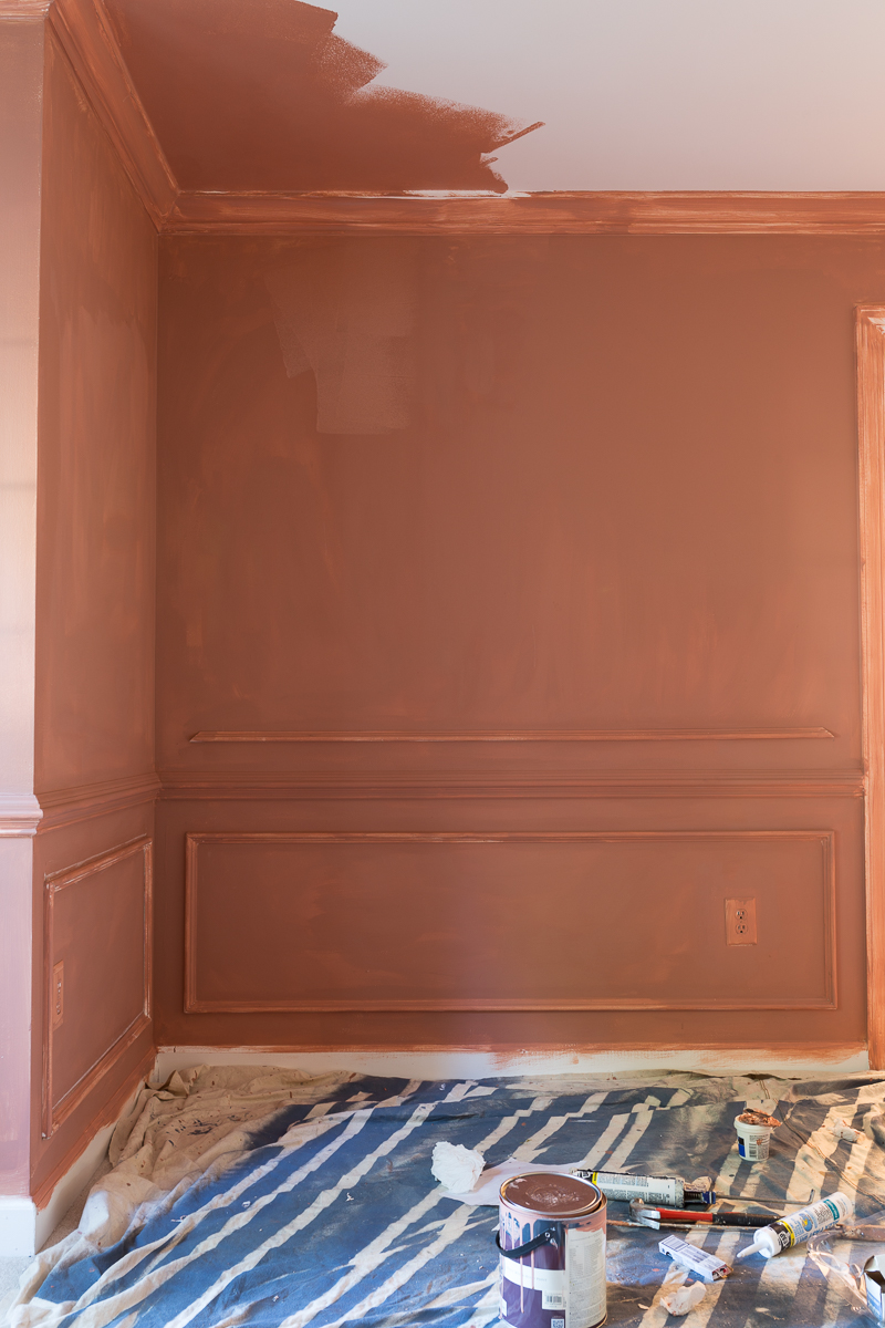 farrow and ball, red earth, primer, Metrie moulding, dining room, terra cotta, jeweled interiors, one room challenge, 2020
