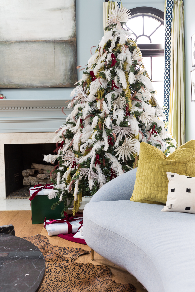 You've got to see this Christmas tree ideas. Palm Christmas tree, holiday decorating, Christmas tree ideas, Christmas tree, Anthropologie Christmas tree, holiday decor, 2021, 2020 Christmas trends