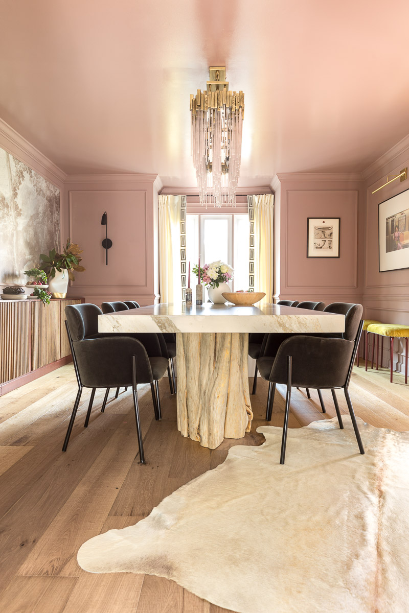 Cambria, Brittannica Gold, countertop, custom table, one room challenge, fall 2020, Jewel Marlowe, jeweled Interiors, sulking room pink, farrow and ball, dining room, cb2,