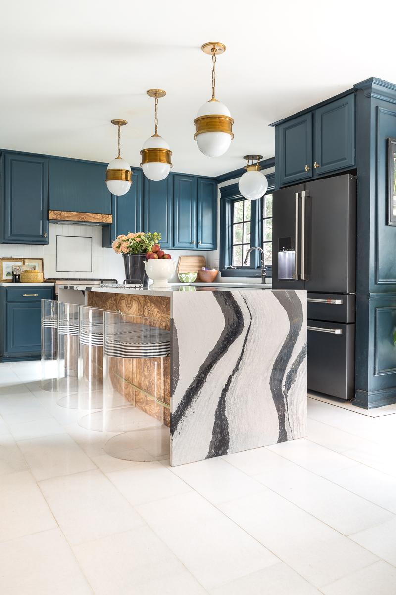 Cafe fridge, black matte, cafe appliances, jeweled interiors, blue kitchen,