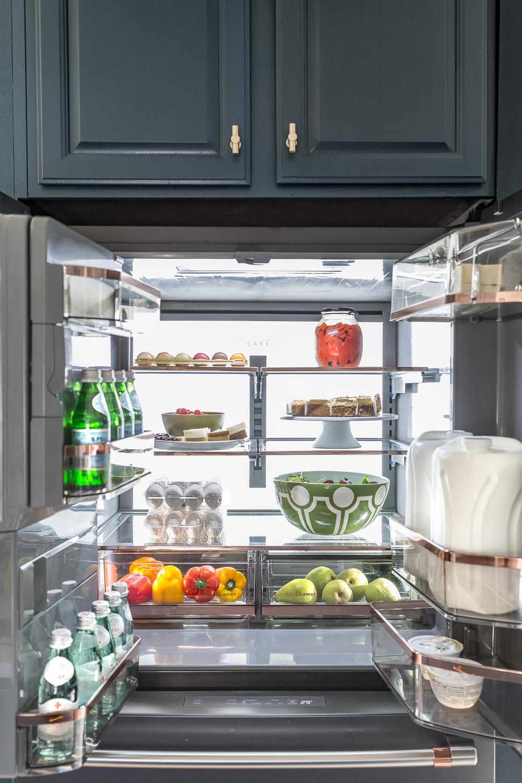 Cafe fridge, black matte, cafe appliances, jeweled interiors, blue kitchen, marble floors