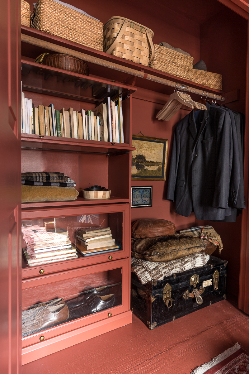 . New Year New Room Challenge, Picture Gallery Red, farrow and ball, closet, masculine, handsome, the container store, Milton and king, striped walls, stiffkey blue, Union Jack dresser, New Year New Room Challenge, closet organization, wallpapered closet, pantry organization, tips