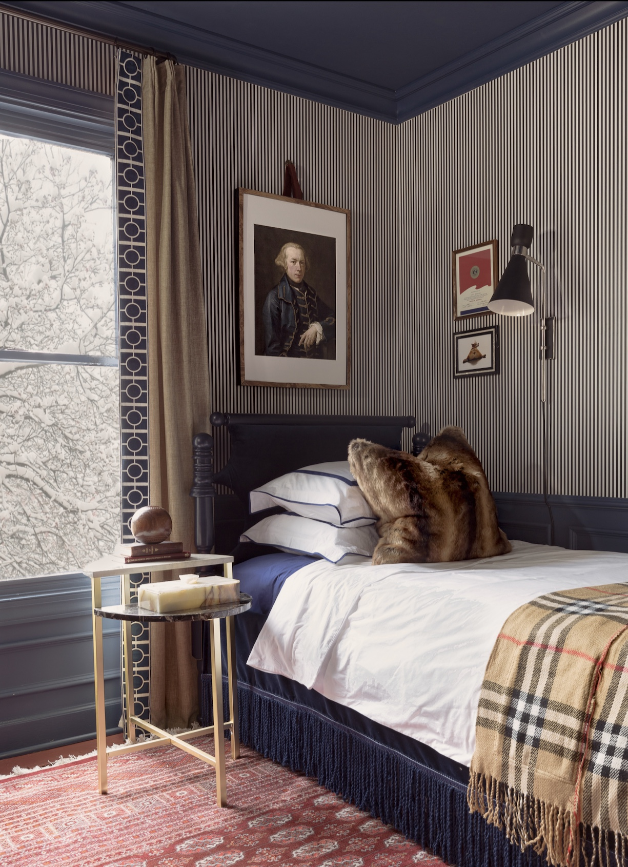 Masculine Traditional Bedroom, reveal, boy's bedroom, boy bedroom, man bedroom, British design, grand millennial, traditional design, Stiffkey blue, Wagner chandelier, modern chandelier, black and white striped wallpaper, Milton and king, candy stripe, gallery wall,