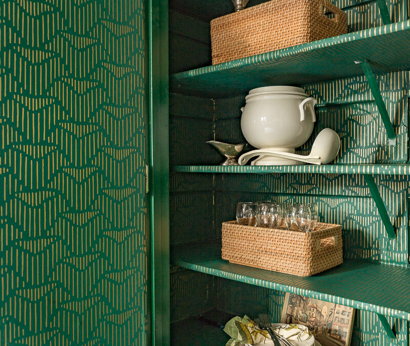 Kitchen Pantry Design Makeover- Wallpaper and Organization
