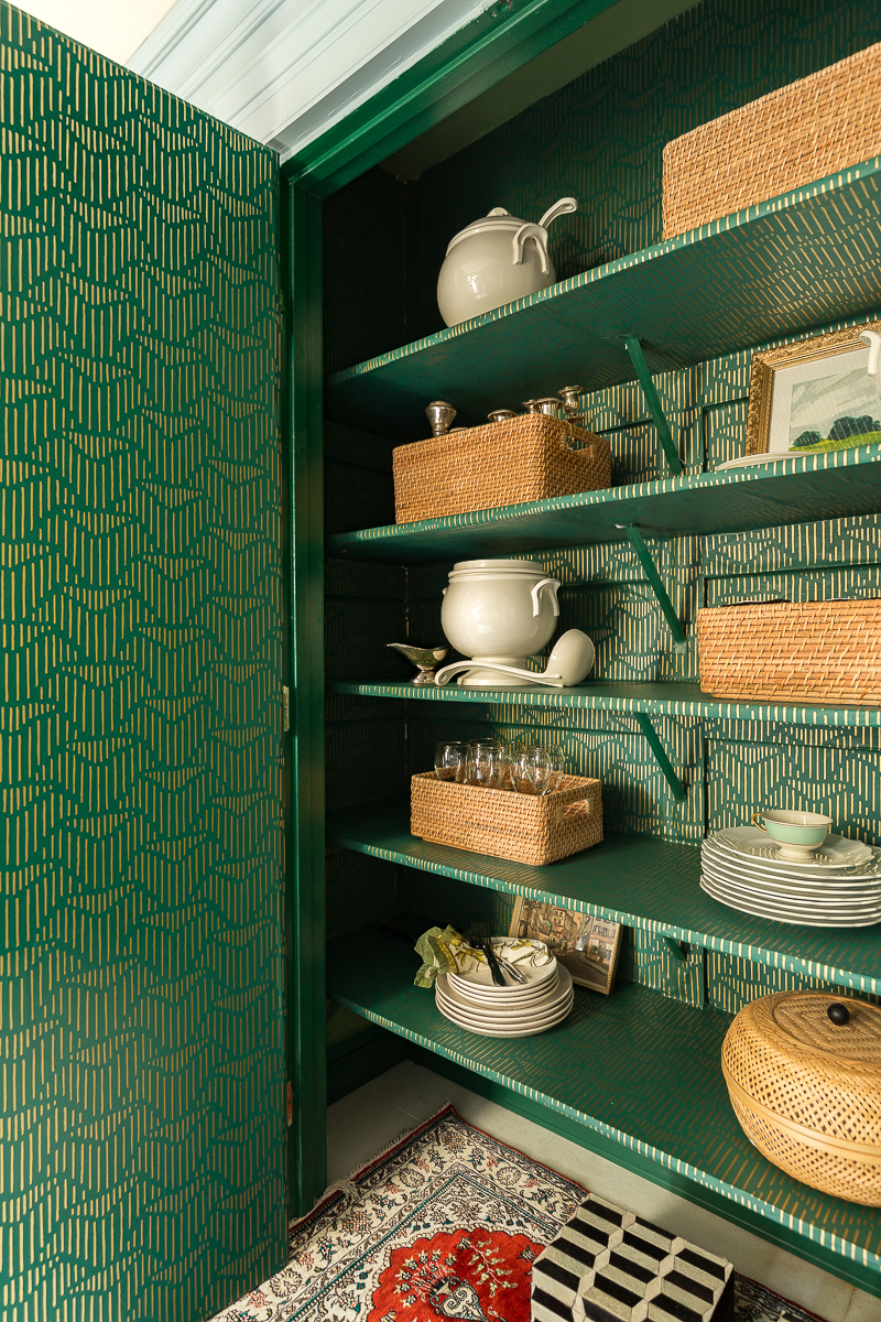 kitchen pantry design, butler's pantry, wallpapered, wallpaper, higgle and west, Art Deco, Anthropologie, closet, organization, kitchen, green, gold, ideas, tips, jeweled interiors, Jewel Marlowe, the container store, how to organize