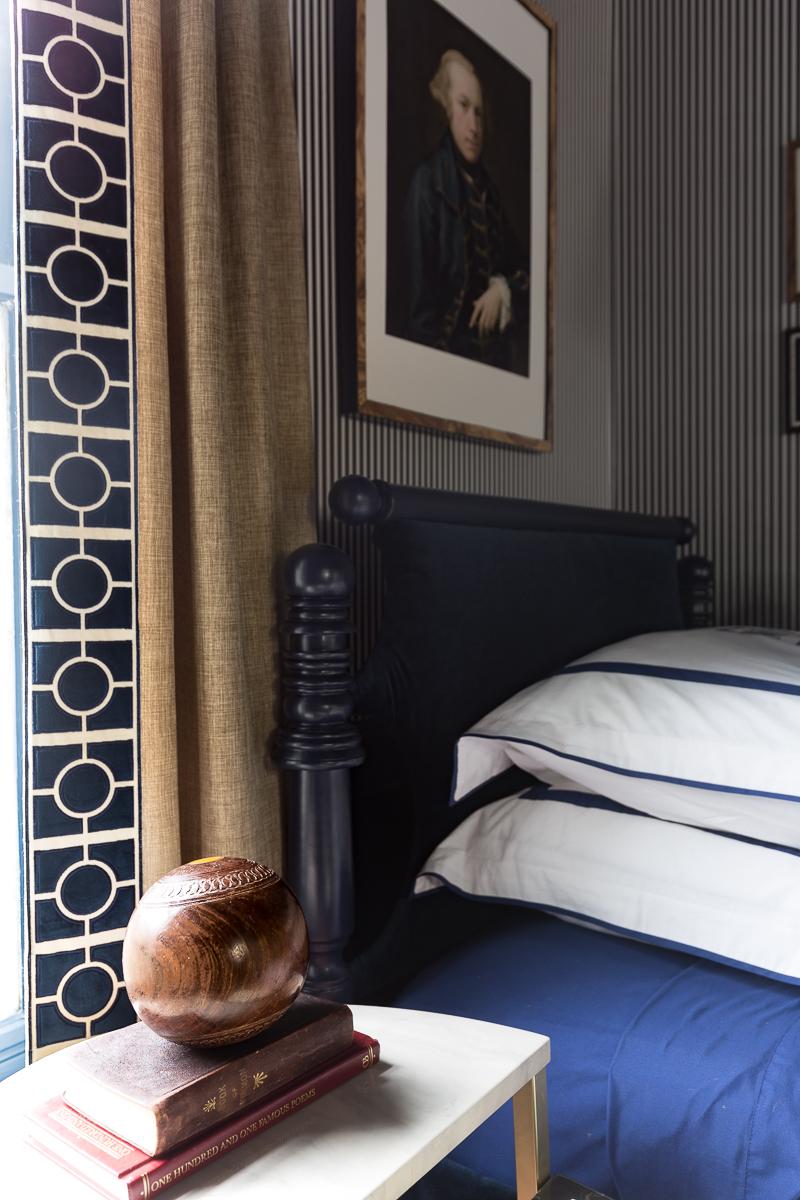 luxe fabric co, leading edge trim, custom drapes, linen, stripped wallpaper, velvet bed