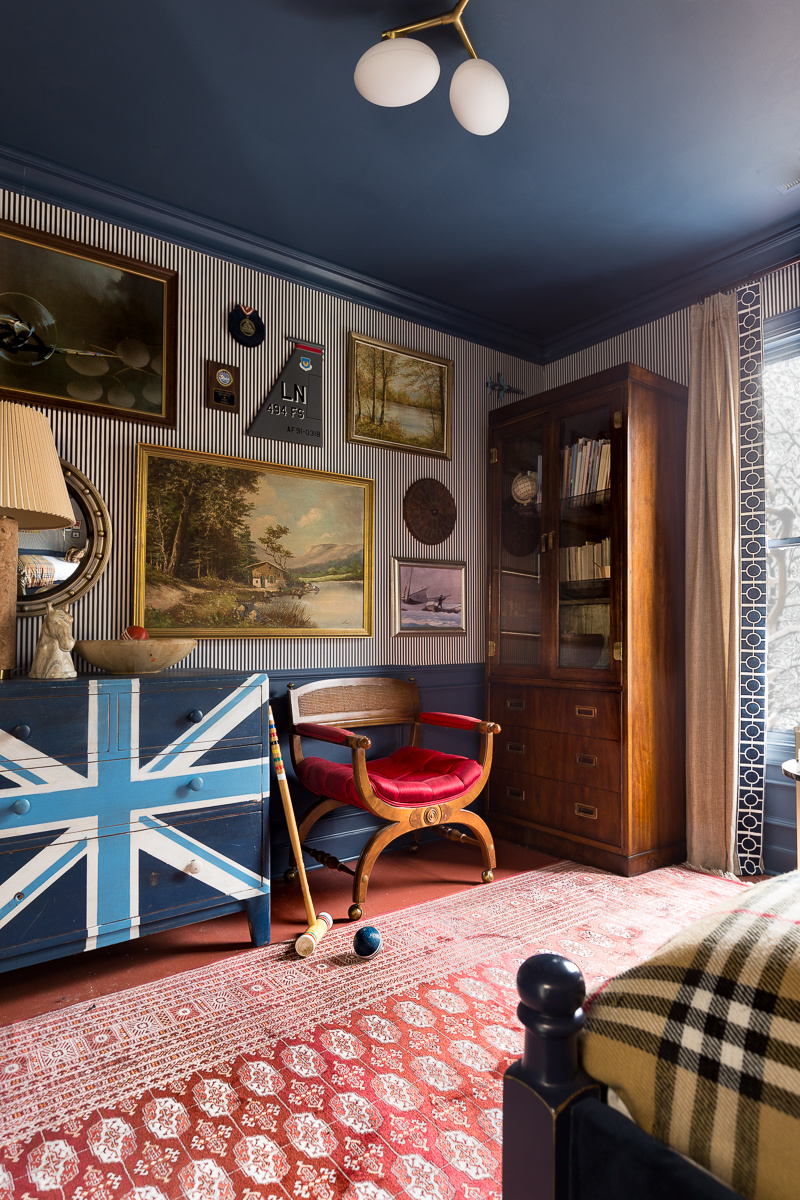 Masculine Traditional Bedroom, reveal, boy's bedroom, boy bedroom, man bedroom, British design, grand millennial, traditional design, Stiffkey blue, Wagner chandelier, farrow and ball, picture gallery red,  Milton and king, candy stripe, gallery wall,