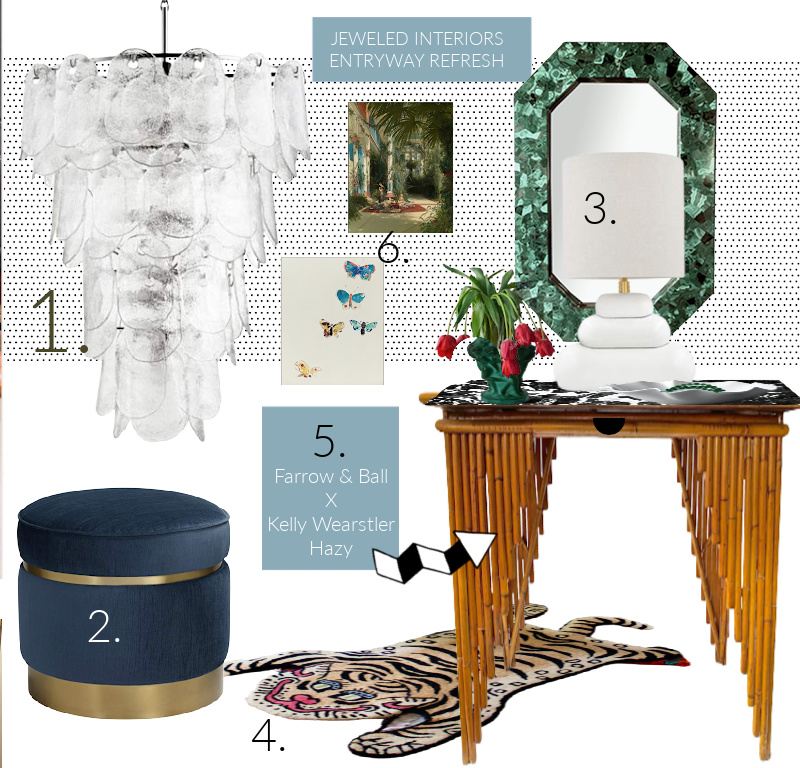 Entryway ideas, entryway, chandelier, moulding, paint, farrow and ball, tiger rug, Kelly Wearstler, California collection, lamps plus, Cascata sconce , drapes,