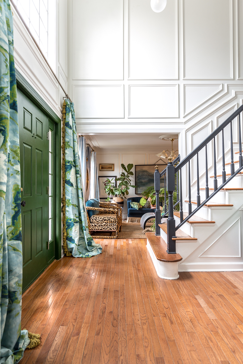 Entryway ideas, entryway, chandelier, moulding, paint, farrow and ball, Kelly Wearstler, California collection, lamps plus, Cascata sconce , drapes,
