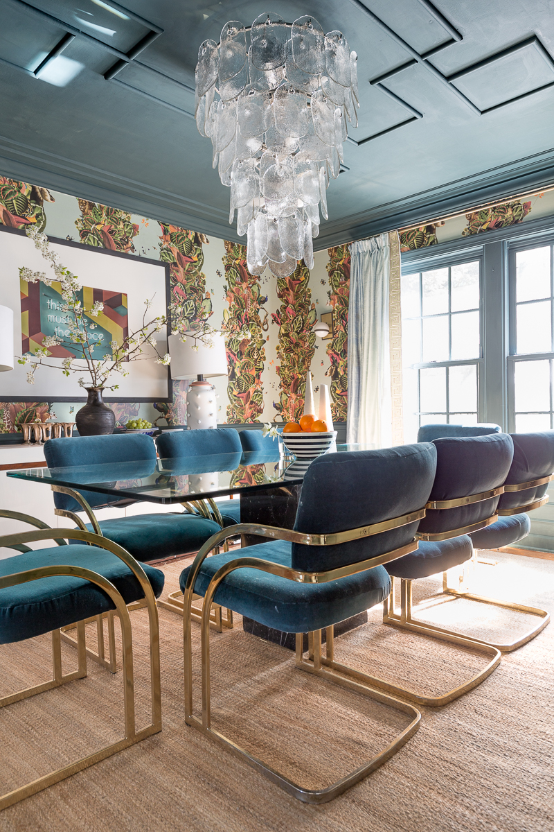 maximalist decor, maximalist dining room, lamps plus, cyan cascata, jungle wallpaper, wallpaper, just rug, diy ceiling medallion, over scaled chandelier, dining room, dupioni silk drapes, glamorous dining room, milo baughman chairs, inchyra blue, farrow and ball,