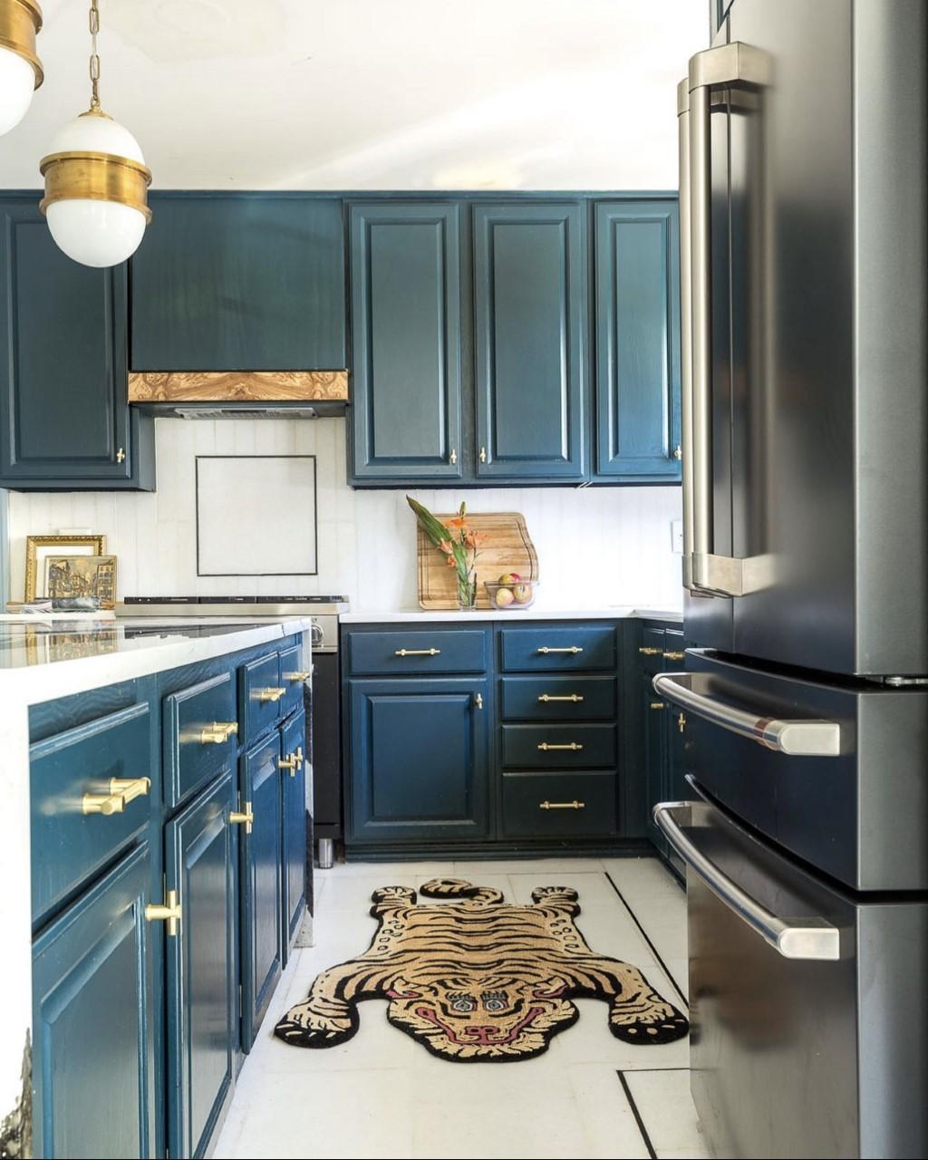 kazimah rug, tiger rug, blue kitchen, Cafe Refrigerator