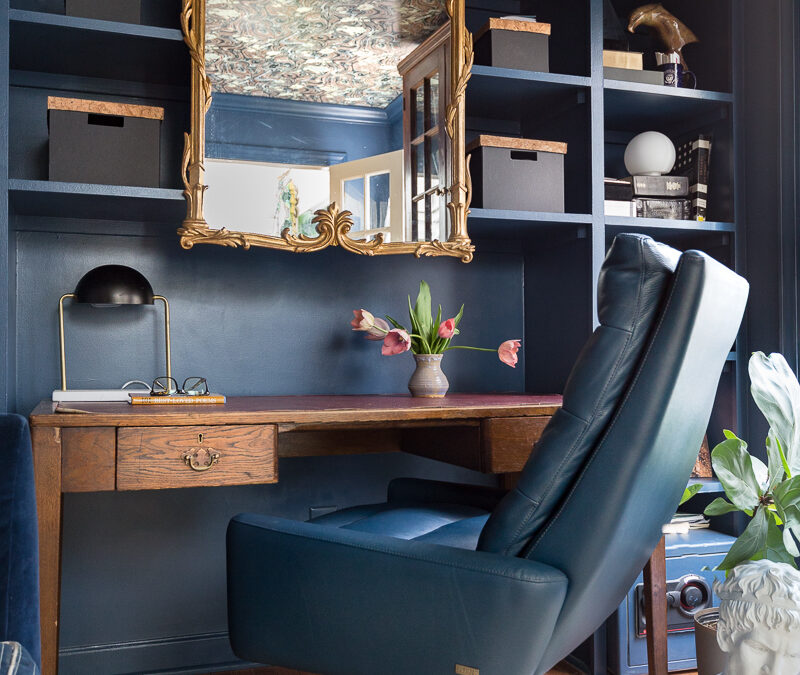 home office ideas, office, stiffkey blue, farrow and ball, wallpapered ceiling, campaign office desk, leather chair, cowhide rug, Giselle flush mount, Mitzi, office organization, antique mirror