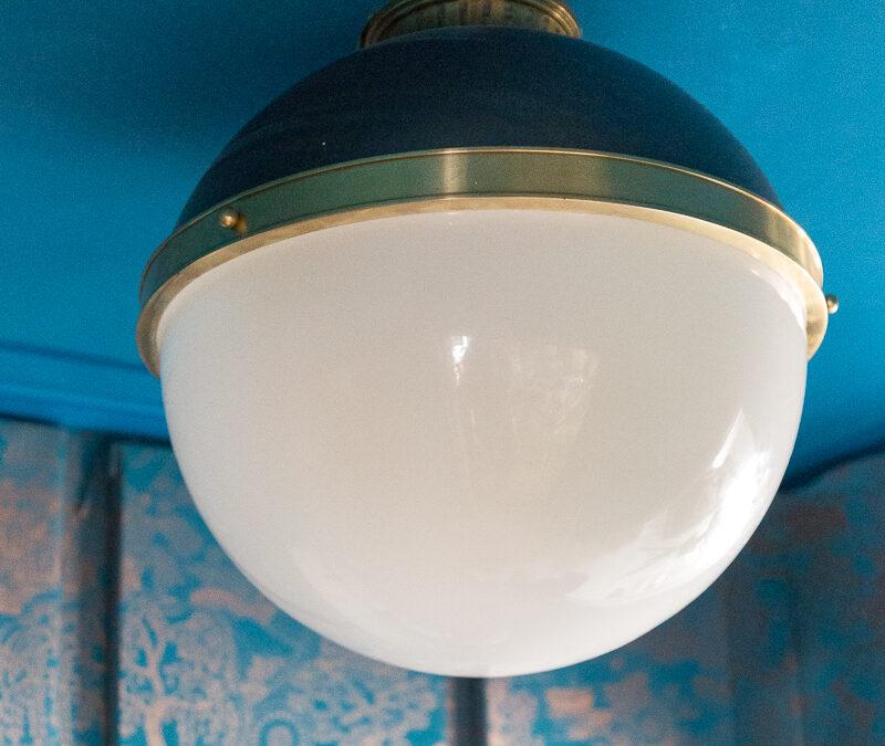 laundry room lighting, Latham, flush mount, black and brass