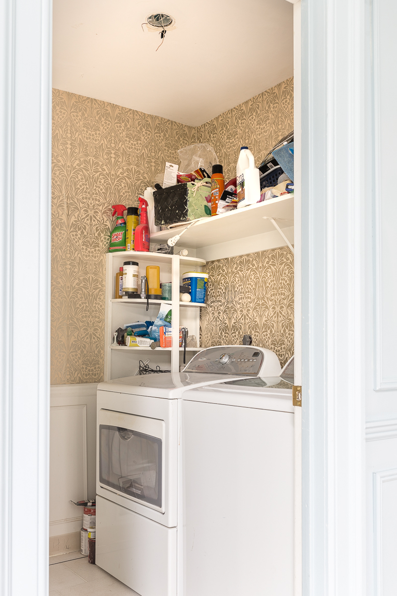 how to wallpaper cabinets, wallpapered cabinets, kitchen cabinets, bathroom, laundry room, graham and brown, teal wallpaper, diy wallpaper