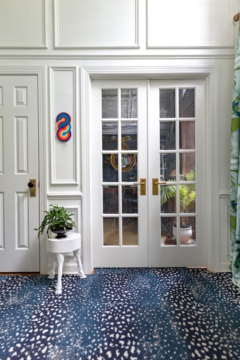 return on art, Derick Smith, Jessica Moritz, laundry room, one room challenge, entryway, leopard carpet, living room, leopard chairs, art