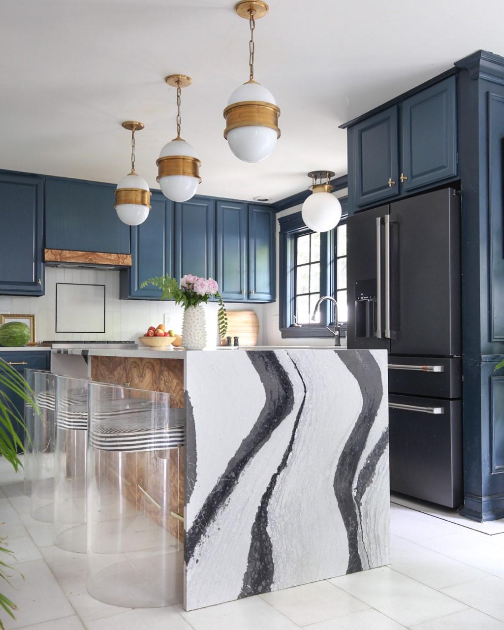 blue kitchen, panda marble, Bentley, brass, cafe refrigerator